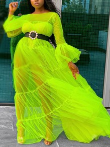 Neon Green Patchwork Grenadine Pleated Sheer Maternity Beach Party Maxi Dress