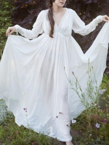 White Draped Deep V-neck Lantern Sleeve Medieval Renaissance Flowy Bohemian Maxi Dress