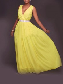 Yellow Patchwork Grenadine Cut Out Bodycon Ttrendy Going out Maxi Dress