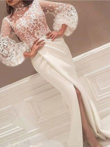 White Patchwork Lace Irregular Front Slit Puff Sleeve Prom Evening Party Maxi Dress