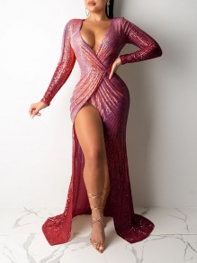 Burgundy Patchwork Sequin Thigh High Side Slits V-neck Sparkly Glitter Birthday Prom Evening Party Maxi Dress