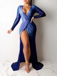 Navy Blue Patchwork Sequin Thigh High Side Slits V-neck Sparkly Glitter Birthday Prom Evening Party Maxi Dress