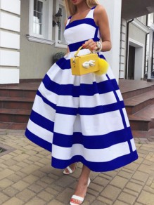 Blue-White Striped Pleated Pockets Tutu Prom Evening Party Maxi Dress