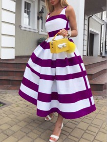 Purple-White Striped Pleated Pockets Tutu Prom Evening Party Maxi Dress