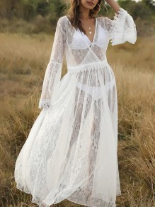 White Patchwork Lace V-neck Flare Sleeve Elegant Maxi Dress