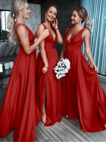 Red Patchwork Draped Side Slit Bridemaid Prom V-neck Fashion Maxi Dress