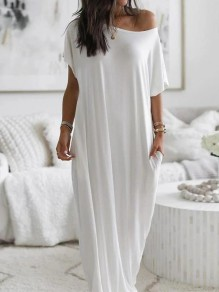 White Patchwork Irregular Off Shoulder Short Sleeve Elegant Maxi Dress
