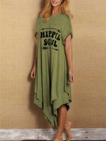 Green Letter Pattern Irregular One Piece Fashion Maxi Dress