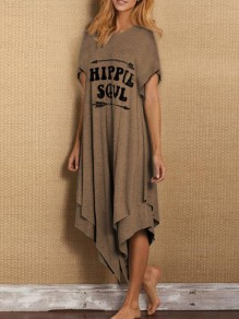 Khaki Letter Pattern Irregular One Piece Fashion Maxi Dress
