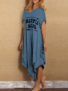 Blue Letter Pattern Irregular One Piece Fashion Maxi Dress