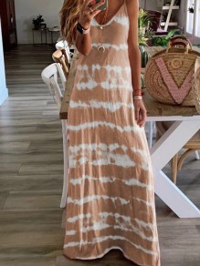 Khaki Patchwork Print One Piece Ttrendy Going out Maxi Dress