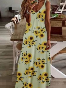 Yellow Floral Pattern Trendy Honey Girl Maxi Dress