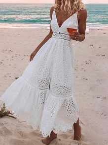 White Floral Cut Out Suspender Skirt Going Out Maxi Dress