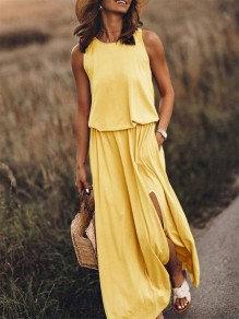 Yellow Patchwork Draped Side Slit Sleeveless Fashion Maxi Dress
