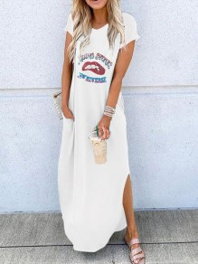 White Letter Print Red Lips Going Out Maxi Dress