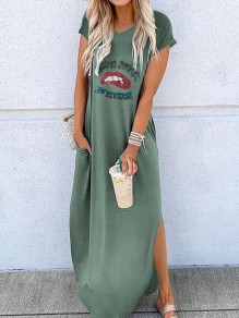Green Letter Print Red Lips Going Out Maxi Dress