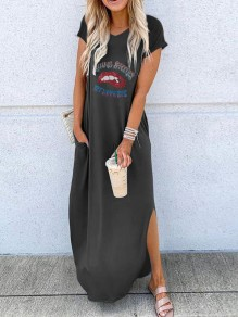 Black Letter Print Red Lips Going Out Maxi Dress