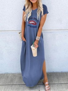 Blue Letter Print Red Lips Going Out Maxi Dress