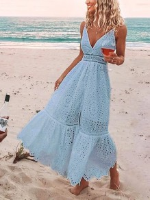 Blue Patchwork Lace Slit Spaghetti Strap V-neck Sleeveless Fashion Maxi Dress