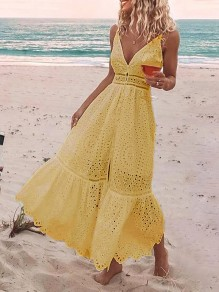 Yellow Patchwork Lace Slit Spaghetti Strap V-neck Sleeveless Fashion Maxi Dress