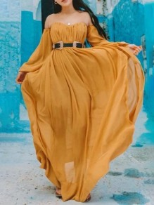 Yellow Patchwork Draped Side Slit Boat Neck Puff Sleeve Maxi Dress