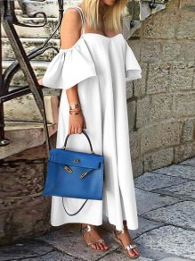 White Patchwork Draped Ruffle Short Sleeve Fashion Maxi Dress