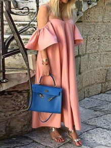 Pink Patchwork Draped Ruffle Short Sleeve Fashion Maxi Dress