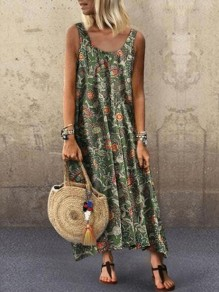 Green Floral Flowy Boutique Holiday Bohemian Maxi Dress