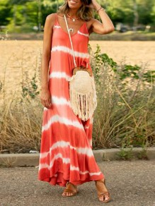 Orange-White Tie Dye Draped Spaghetti Strap Backless Big Swing Bohemian Maxi Dress