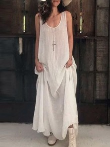 White Patchwork Draped Round Neck Oversized Sleeveless Fashion Maxi Dress
