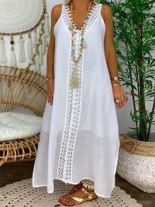 White Patchwork Lace Draped V-neck Sleeveless Fashion Maxi Dress