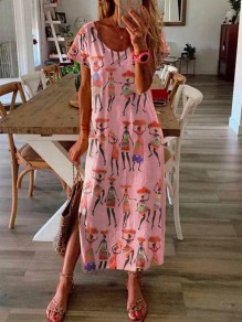 Pink Tribal Floral Side Slit Short Sleeve Fashion Maxi Dress