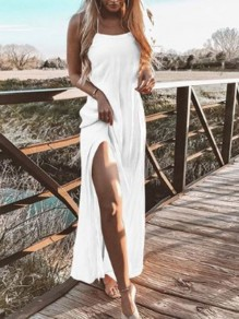 White Halter Neck Slit Backless Sleeveless Bohemian Beach Maxi Dress