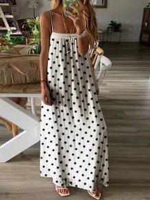 White Black Polka Dot Spaghetti Strap Casual Fashion Flowy Bohemian Maxi Dress