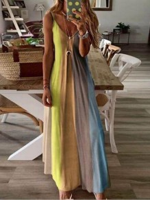 Yellow Color Block Draped Spaghetti Strap Big Swing Bohemian Maxi Dress