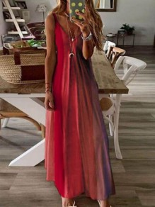 Roter Farbblock drapierter Spaghettibügel Big Swing Bohemian Maxi Dress