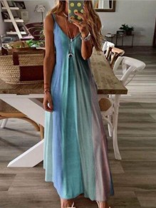 Sky Blue Color Block Draped Spaghetti Strap Big Swing Bohemian Maxi Dress
