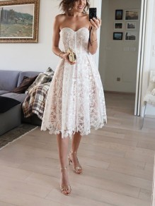 White Patchwork Lace Off Shoulder Pleated Prom Evening Party Maxi Dress