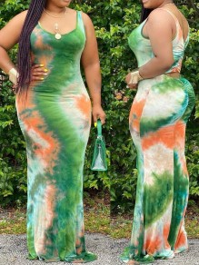 Green Tie Dyeing Spaghetti Strap Bodycon Plus Size Bohemian Beach Party Maxi Dress