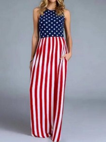 Red-White Striped American Flag Pattern Pockets Independence Day Casual Maxi Dress