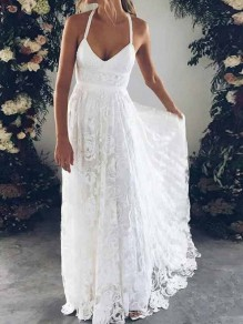 White Patchwork Lace Pleated Spaghetti Strap Backless Plus Size Bohemian Boho Beach Wedding Party Maxi Dress