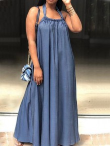 Blue Draped Pockets Halter Neck Backless Big Swing Denim Maxi Dress