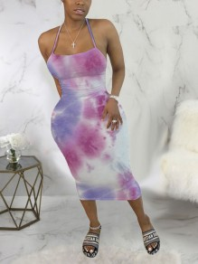 Pink-Purple Tie Dyeing Spaghetti Strap Bodycon Backless Bohemian Beach Party Maxi Dress
