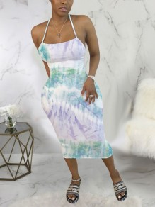 Light Green Tie Dyeing Spaghetti Strap Bodycon Backless Bohemian Beach Party Maxi Dress