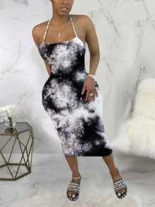 Black-White Tie Dyeing Spaghetti Strap Bodycon Backless Bohemian Beach Party Maxi Dress