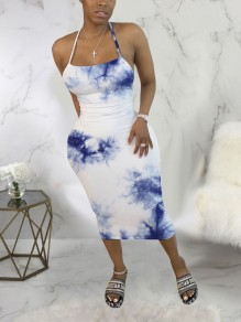 Blue-White Tie Dyeing Spaghetti Strap Bodycon Backless Bohemian Beach Party Maxi Dress