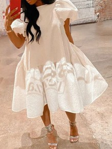 White Pleated Lantern Sleeve Tutu Homecoming Party Maxi Dress