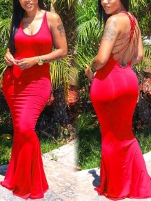 Red Spaghetti Strap Tie Back Backless Bodycon Mermaid Prom Evening Party Maxi Dress