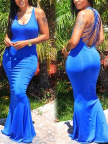 Blue Spaghetti Strap Tie Back Backless Bodycon Mermaid Prom Evening Party Maxi Dress