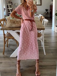 Pink Floral Belt Buttons V-neck Short Sleeve Honey Girl Maxi Dress